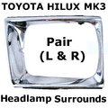 View Item Toyota Hilux Mk3 Chrome Front Headlight Surrounds (1989 to 1991)
