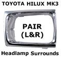 View Item Toyota Hilux Mk3 Chrome Front Headlight Surrounds (1992 - 1995)