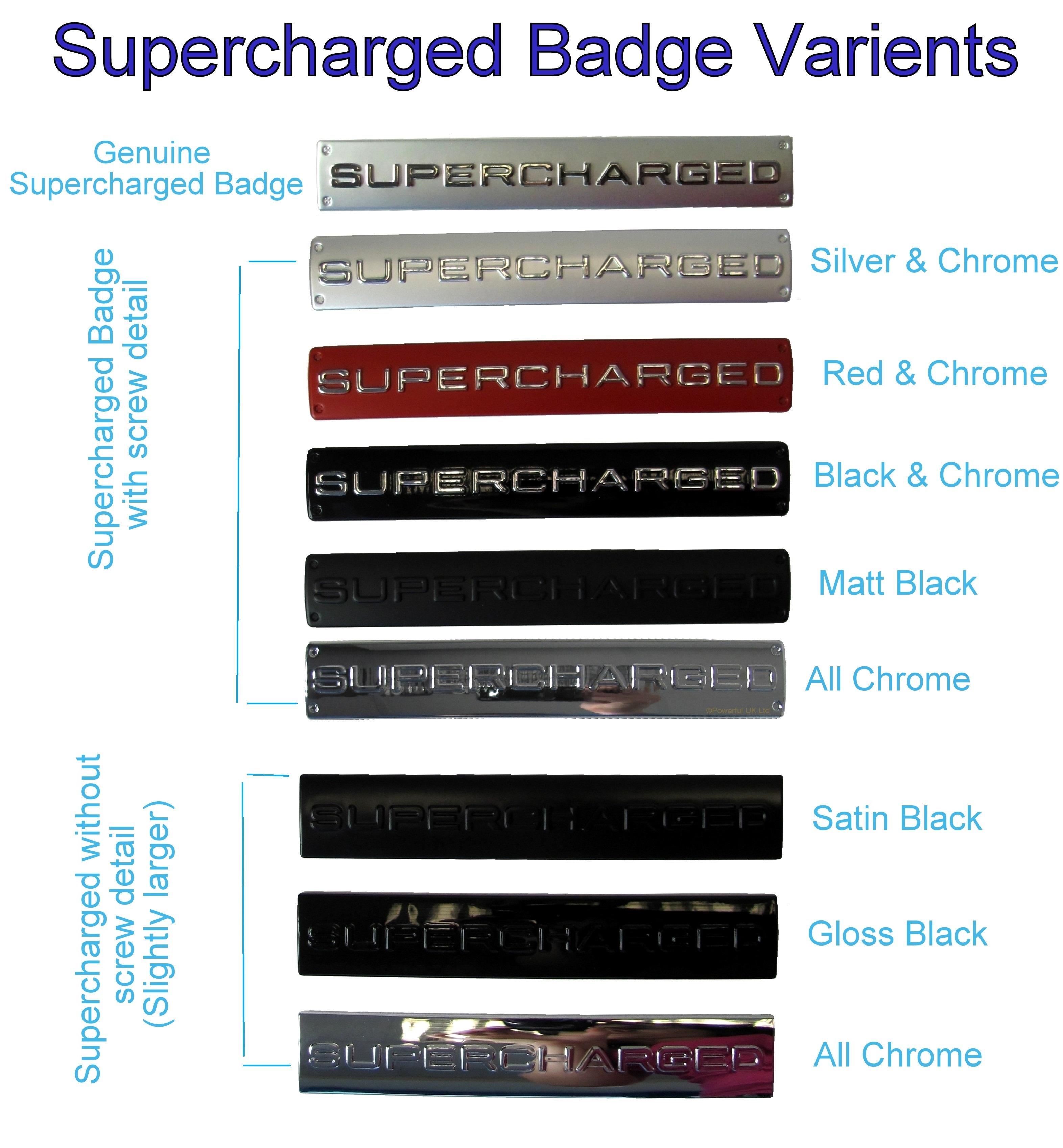 """Honda Jazz Gk Supercharger: Full CHROME """"SUPERCHARGED"""" Badge Range Rover Sport HST"""