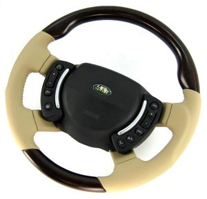 Range Rover L322 Steering Wheel - Burr Walnut Heated + Sand Leather SPORT Grip Heated Preview
