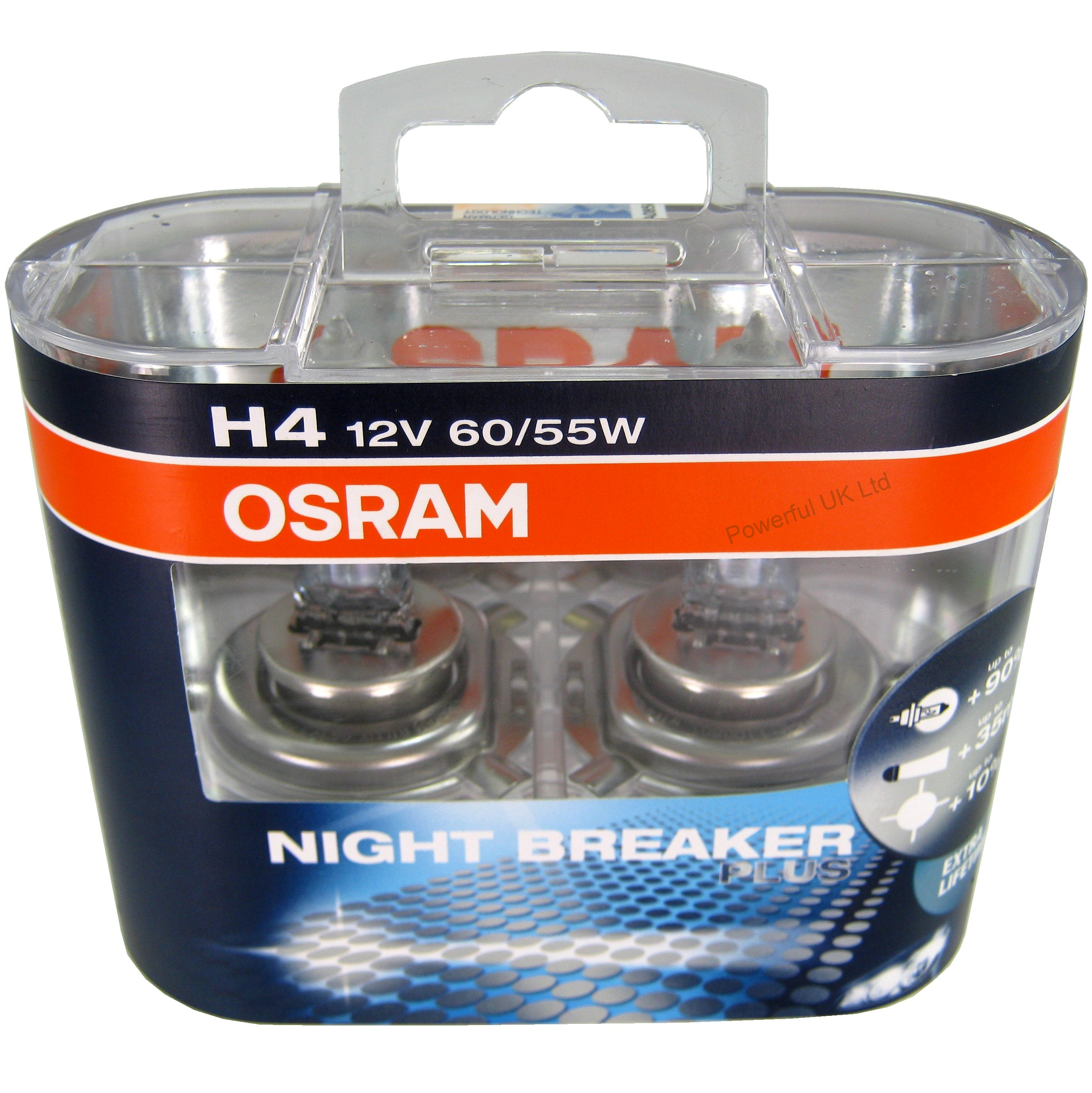 pair of high power osram h4 night breaker plus halogen. Black Bedroom Furniture Sets. Home Design Ideas