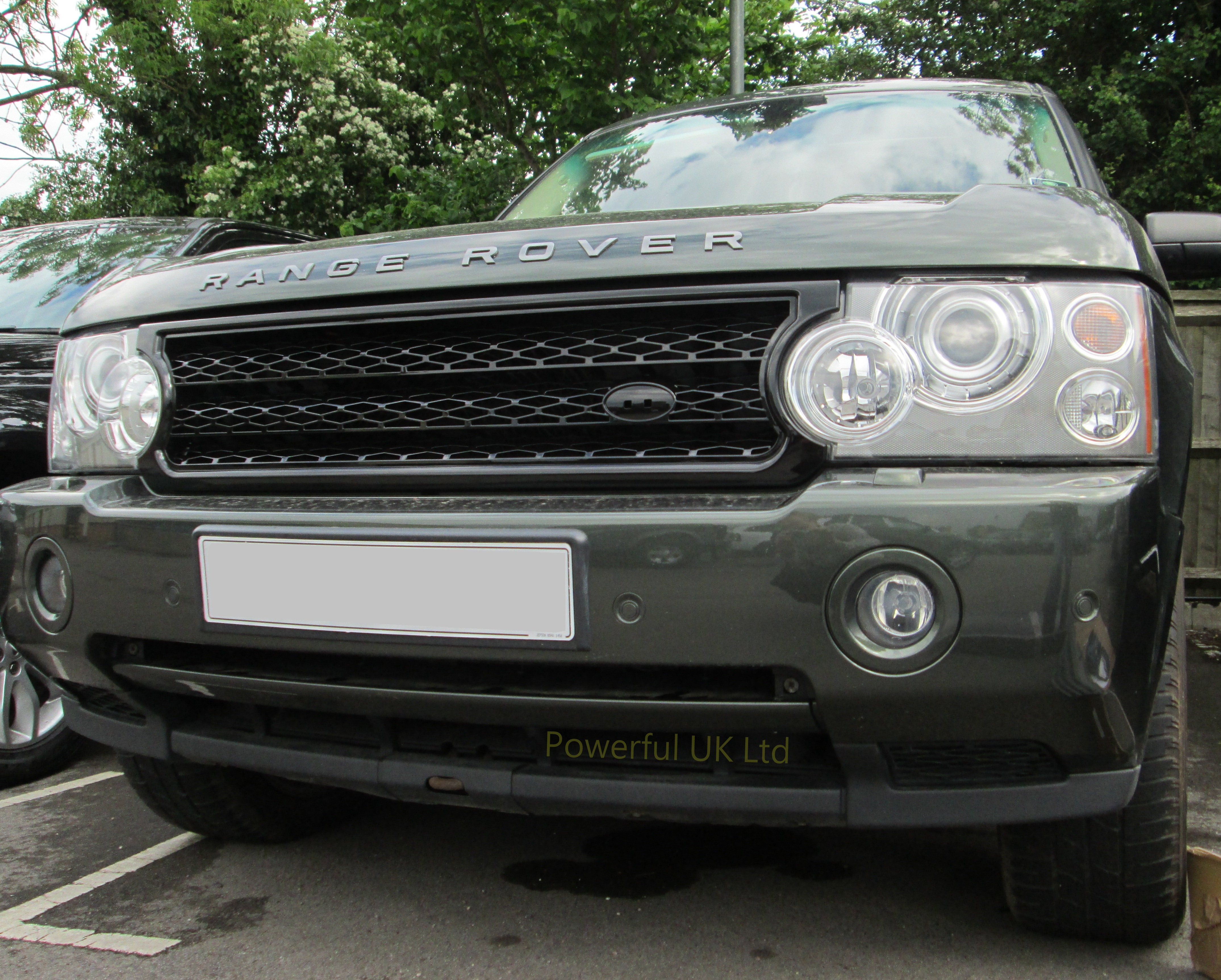 gloss black supercharged front grille for range rover l322 gcat 2005 09 java new ebay. Black Bedroom Furniture Sets. Home Design Ideas
