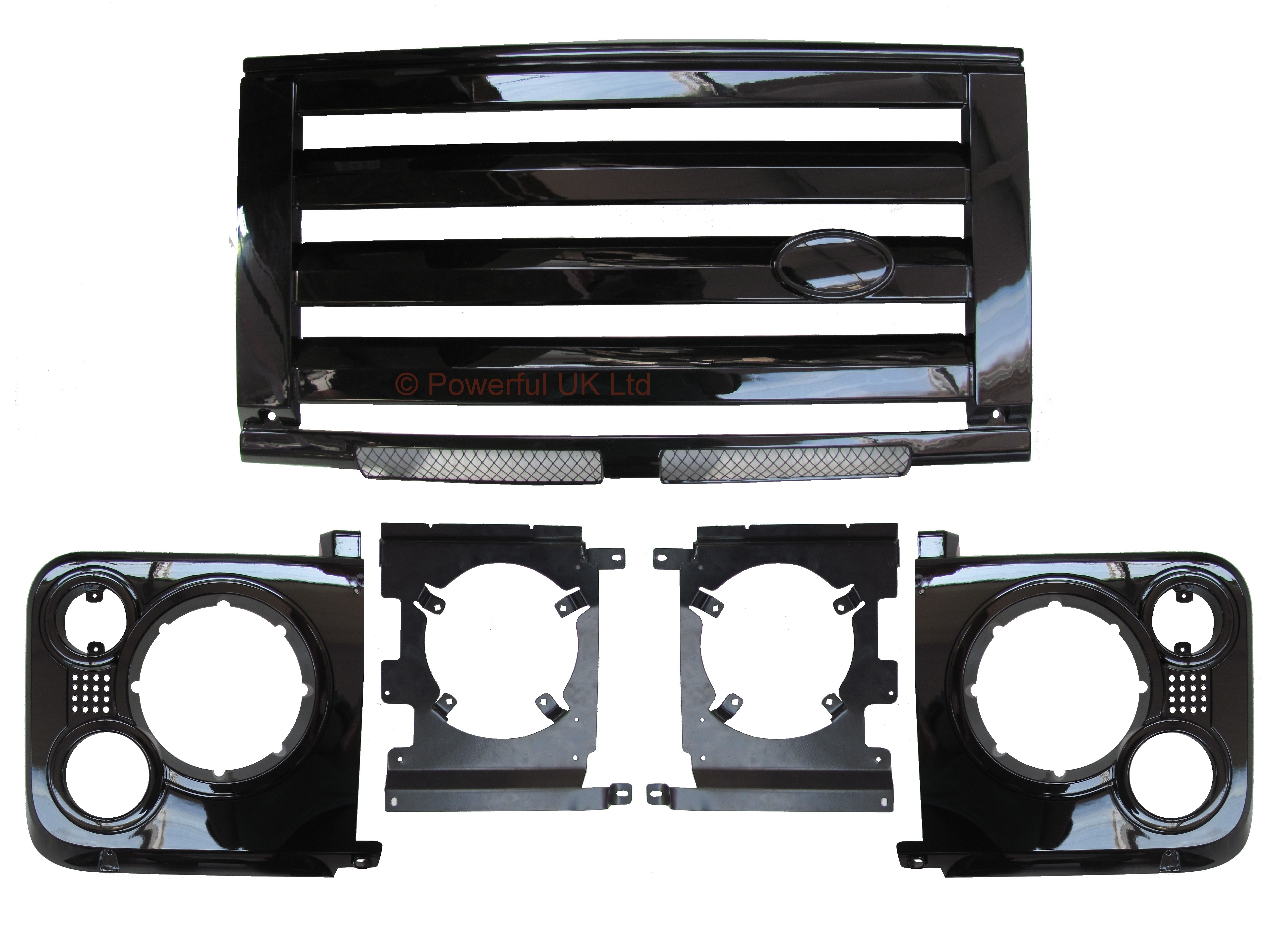 Gloss black svx style front grille kit for land rover
