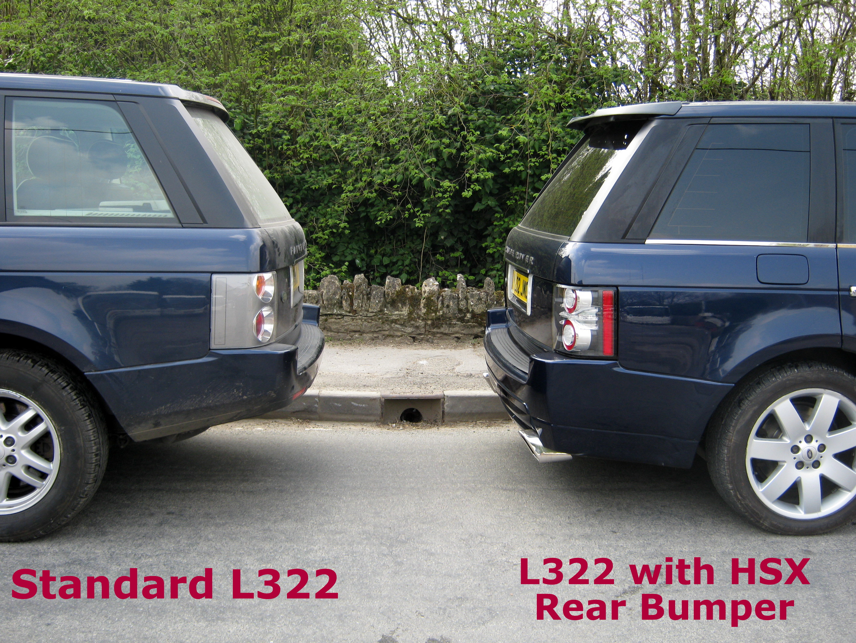 rear hsx design bumper bodykit range rover l322 black exhausts autobiography ebay. Black Bedroom Furniture Sets. Home Design Ideas