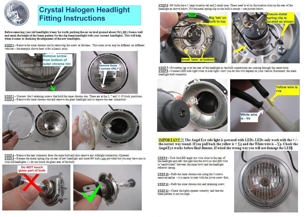 angel eye headlights for land rover series 1 2 3 halogen rhd h4 thumbnail 5 thumbnail 6