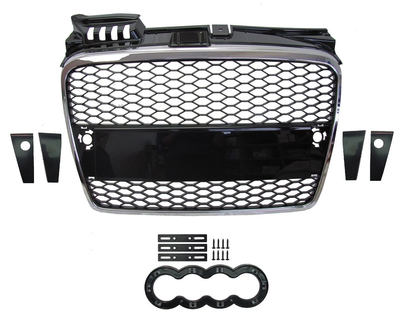 chrome black front grille rs4 style audi a4 honeycomb mesh 2005 8 rs4 b7 ebay. Black Bedroom Furniture Sets. Home Design Ideas