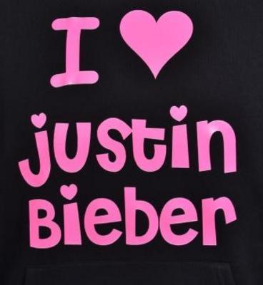 justin bieber hoodie. #39;I LOVE JUSTIN BIEBER#39; KIDS