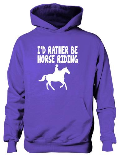 Id-Rather-Be-Horse-Riding-Ponies-Boys-Girls-Kids-Hoodie-Hoody-Age-5-13