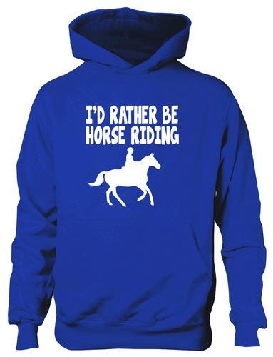 Id-Rather-Be-Horse-Riding-Ponies-Boys-Girls-Kids-Hoodie-Hoody-Age-5-13