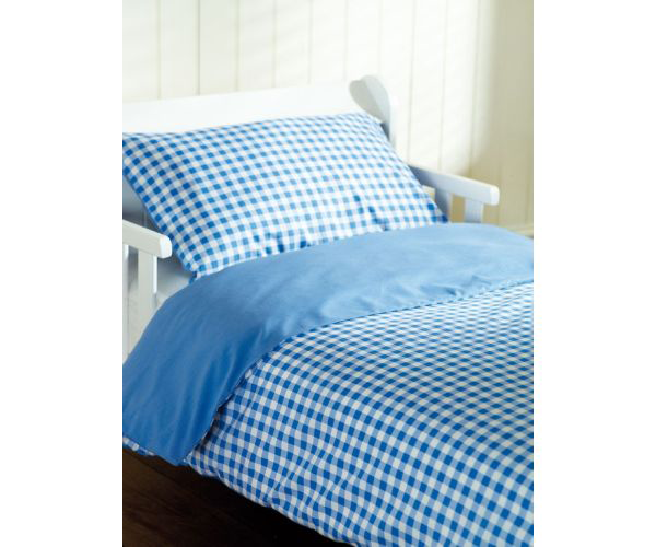 saplings cot bed duvet cover pillow case blue gingham. Black Bedroom Furniture Sets. Home Design Ideas