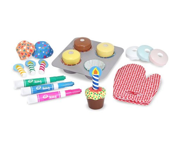 Melissa&Doug WOODEN CUPCAKE SET PLAY FOOD Role Play/Toy/Gift Toddler/Child - BN
