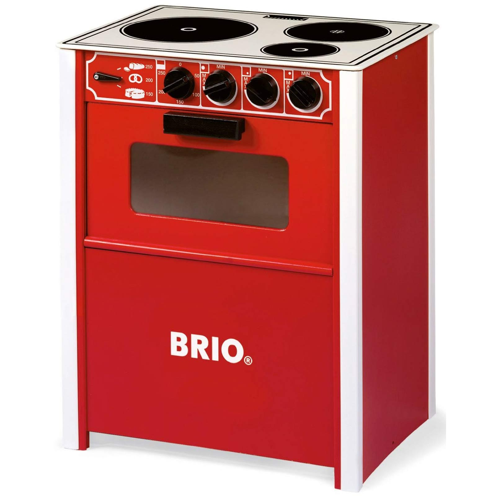 brio red wooden play stove role play toy gift baby child kitchen oven hob new ebay. Black Bedroom Furniture Sets. Home Design Ideas
