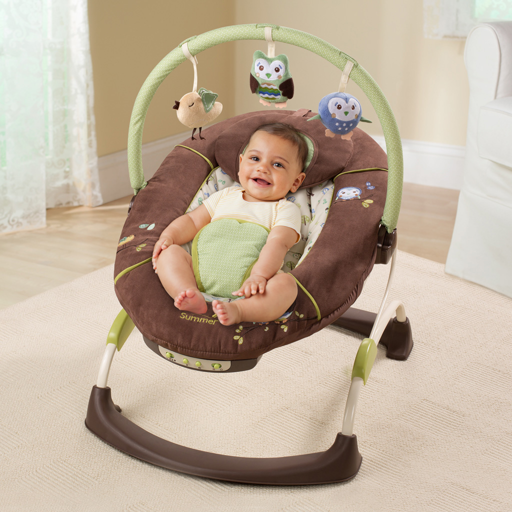 Summer Infant CUDDLY OWL BABY BOUNCER Musical Vibrating