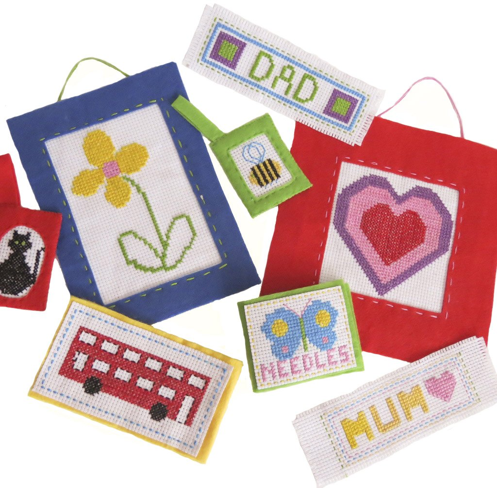 Buttonbag cross stitch kit children kids craft sewing