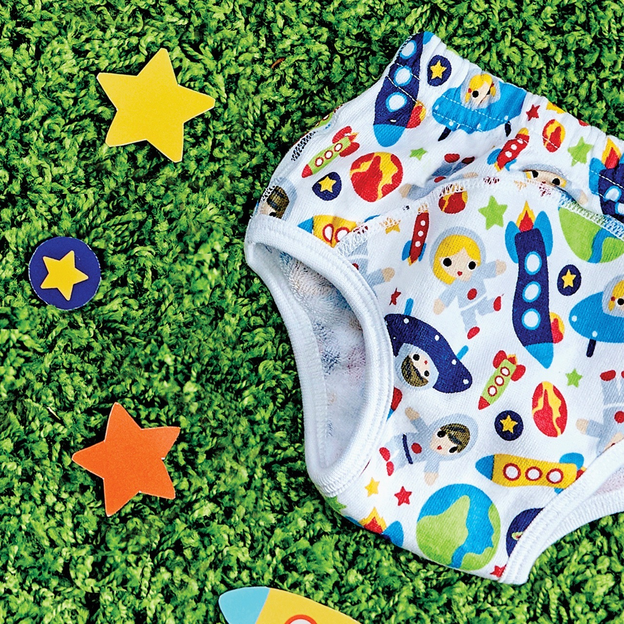 Bambino mio reusable potty training pants outer space kids for Outer space fabric uk