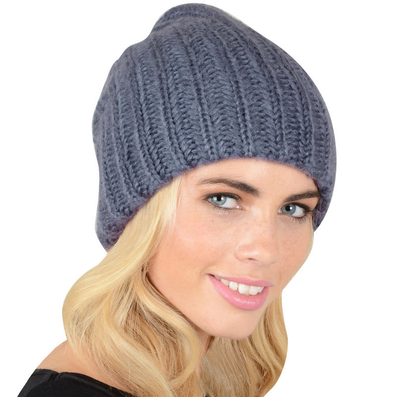 Ladies Double Layer Chunky Rib Knit Slouch Hat Thumbnail 4
