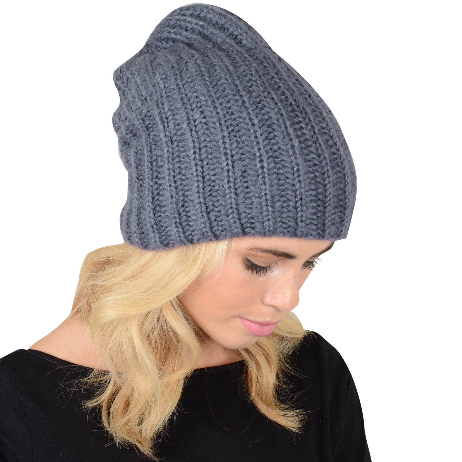 Ladies Stretch Double Layer Chunky Rib Knit Slouch Beanie Hat Winter Accessor...