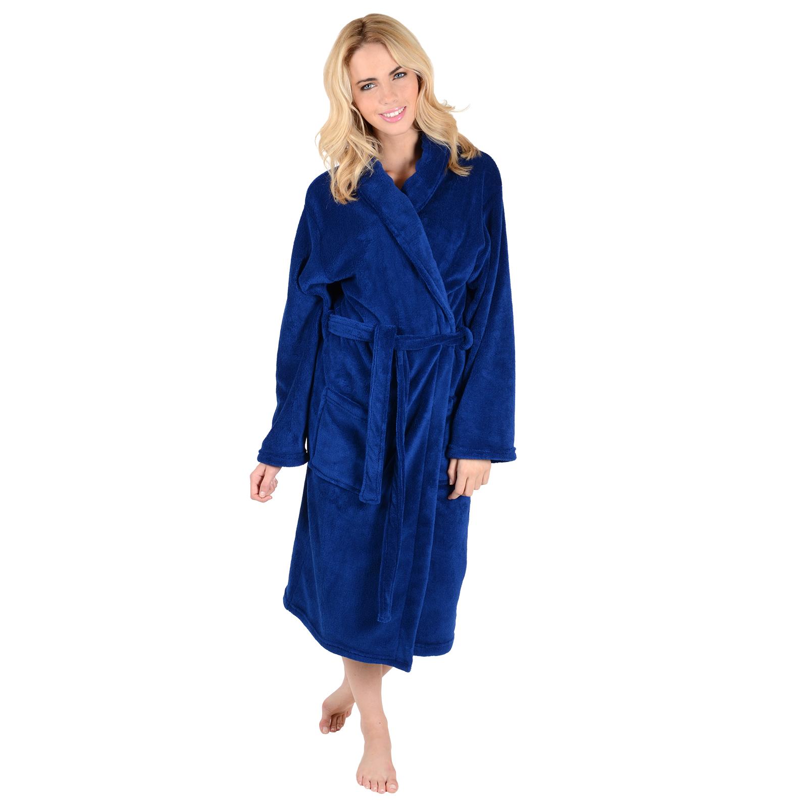 Robe: Ladies Luxury Soft Coral Fleece Bath Robe Dressing Gown