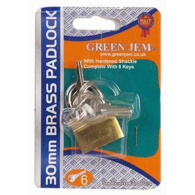 Green Jem 30mm Brass Security Padlock with 6 Keys New