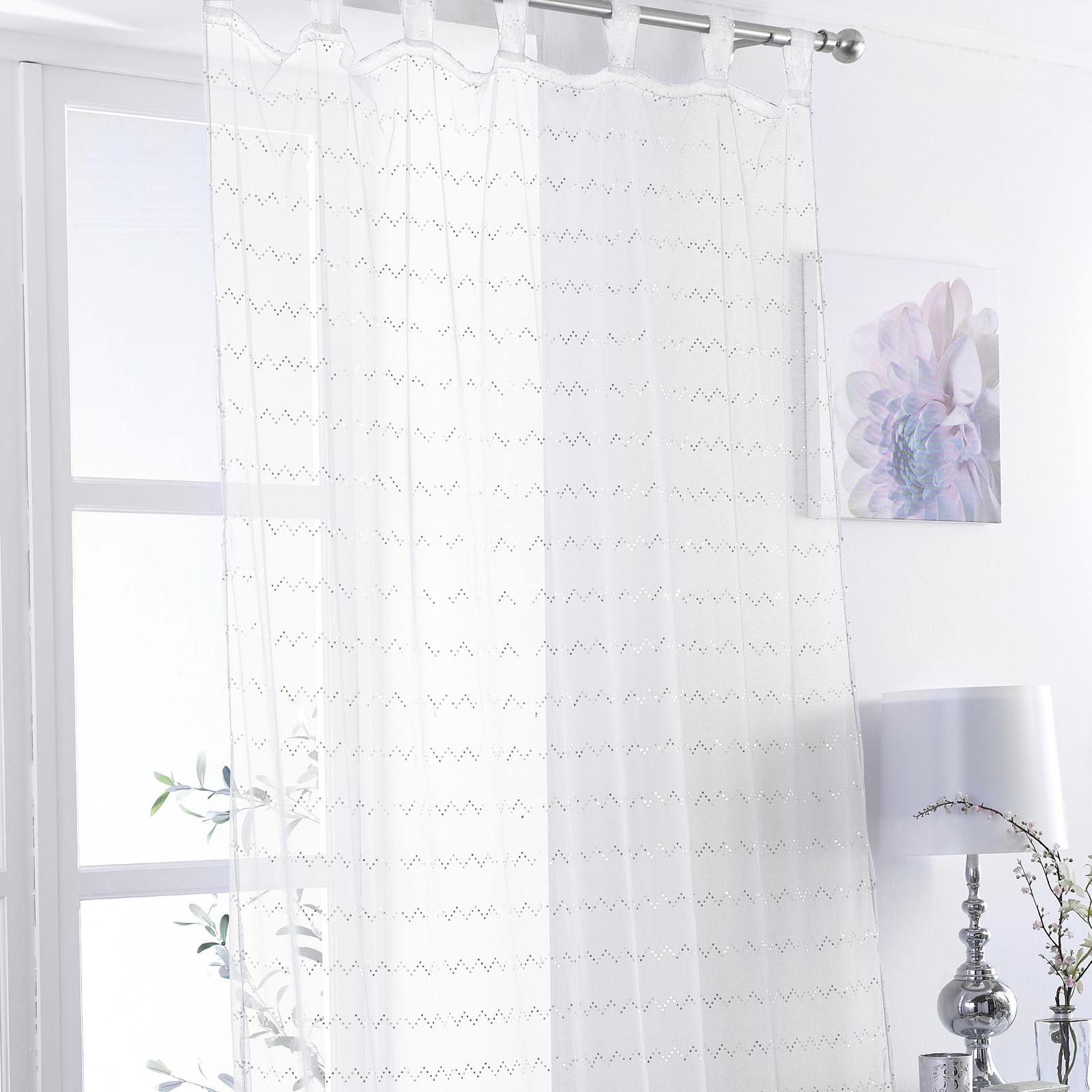 onglet top voile filet rideau panneau zig zag paillettes bed room play rose violet blanc ebay. Black Bedroom Furniture Sets. Home Design Ideas