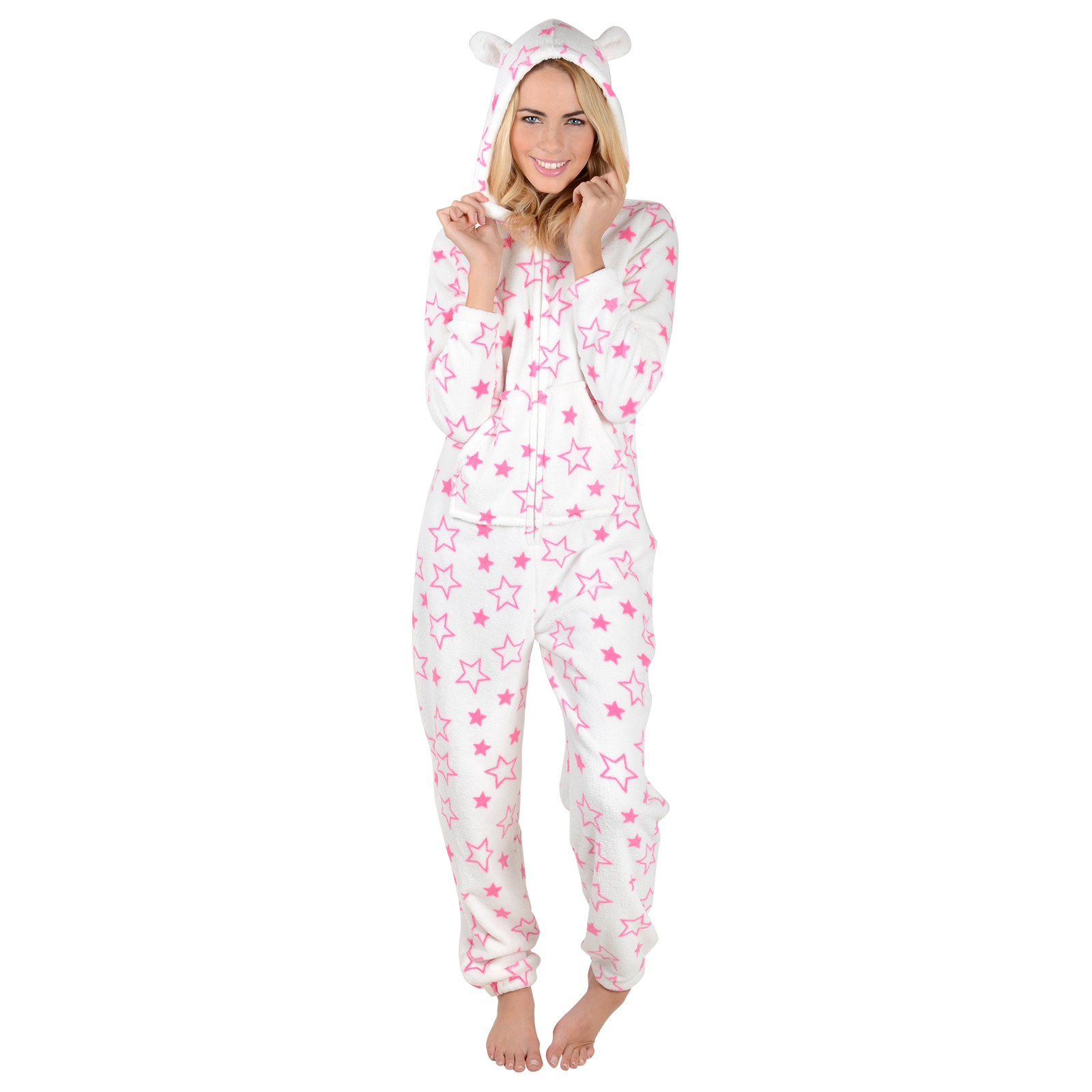 Ladies Stars Print Fleece All In One Pyjamas PJs Sleepsuit Onesie Nightwear