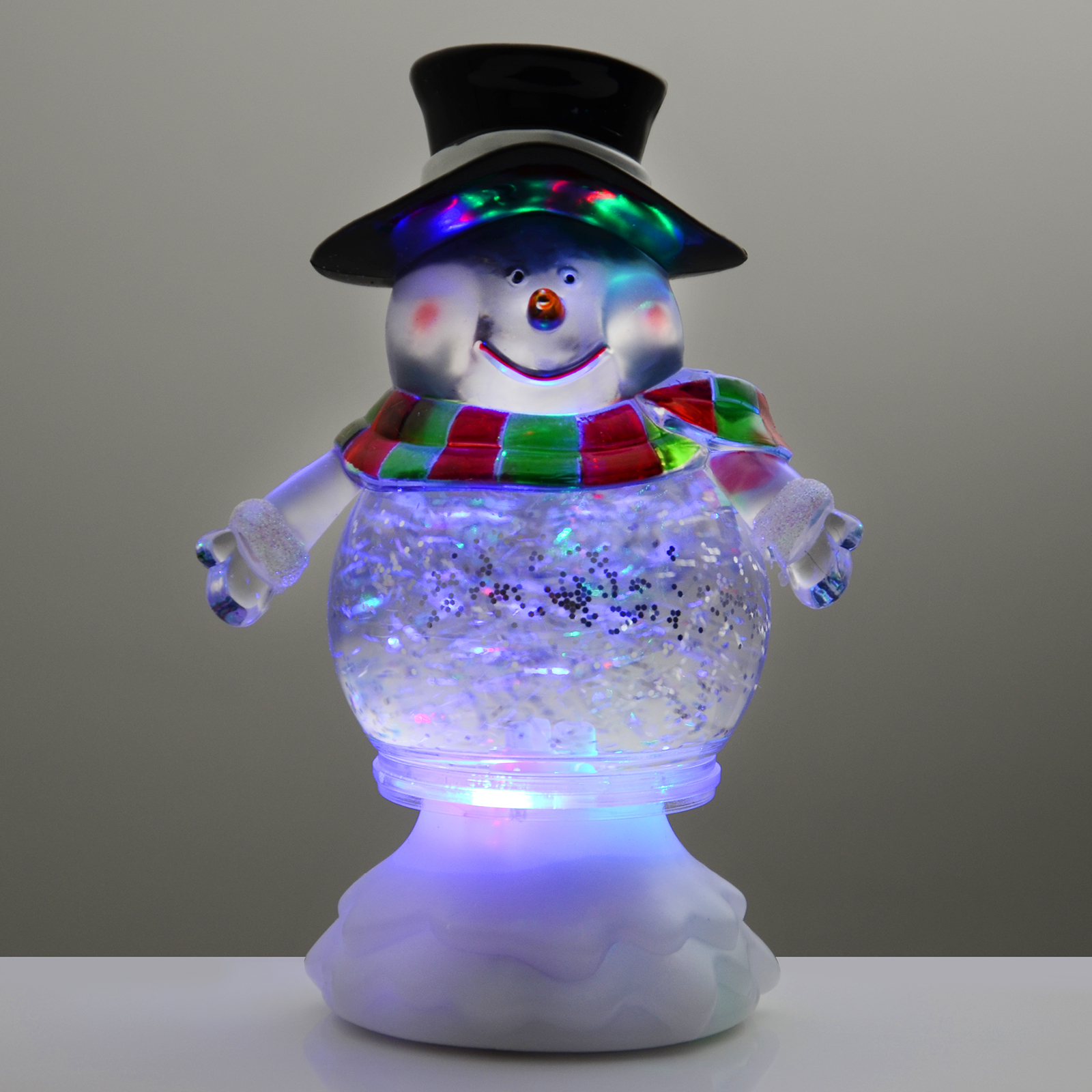 snowman 18cm glitter water christmas xmas ornament colour changing led light up ebay. Black Bedroom Furniture Sets. Home Design Ideas