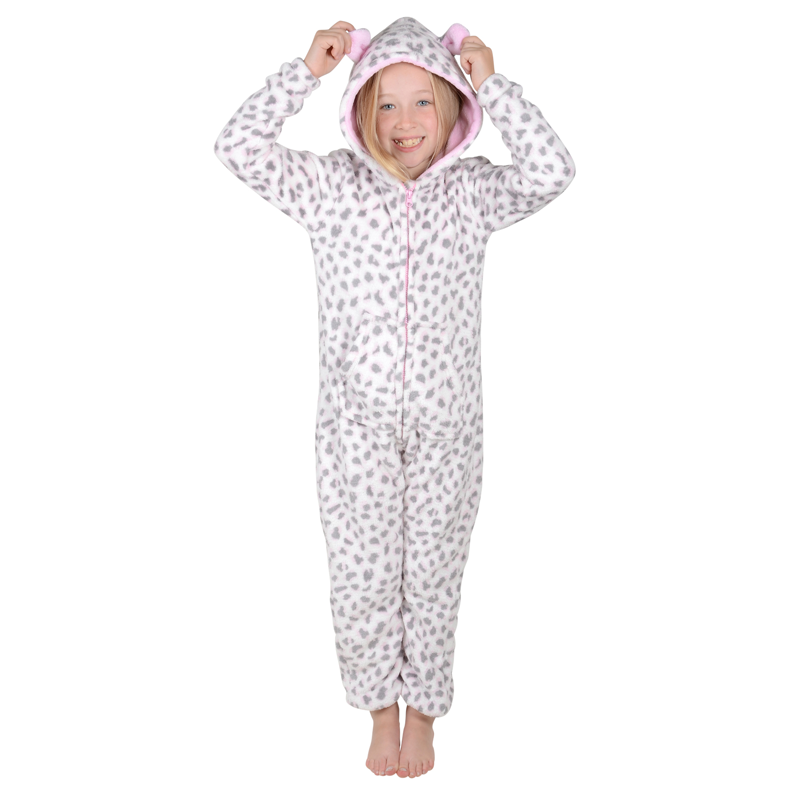 Girls Leopard Animal All In One Onesie With Hood Pyjamas PJs ...