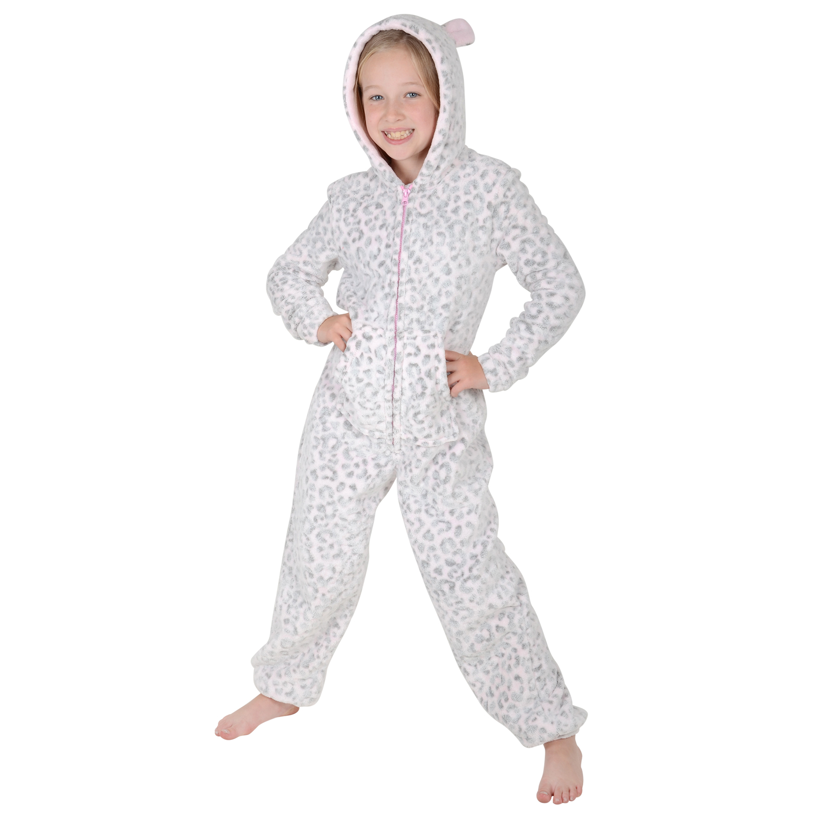 girls embossed fleece all in one onesie pjs nightwear