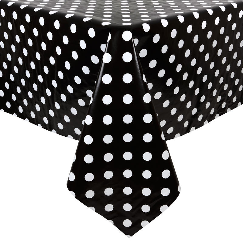 Black White Polka Dots Pvc Wipe Clean Tablecloth Table Cover
