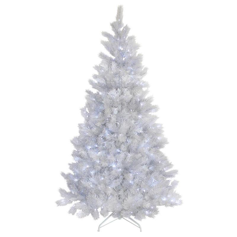 7ft Black Pre Lit Christmas Tree: White Glitter Christmas Tree Pre-Lit Bright White Lights