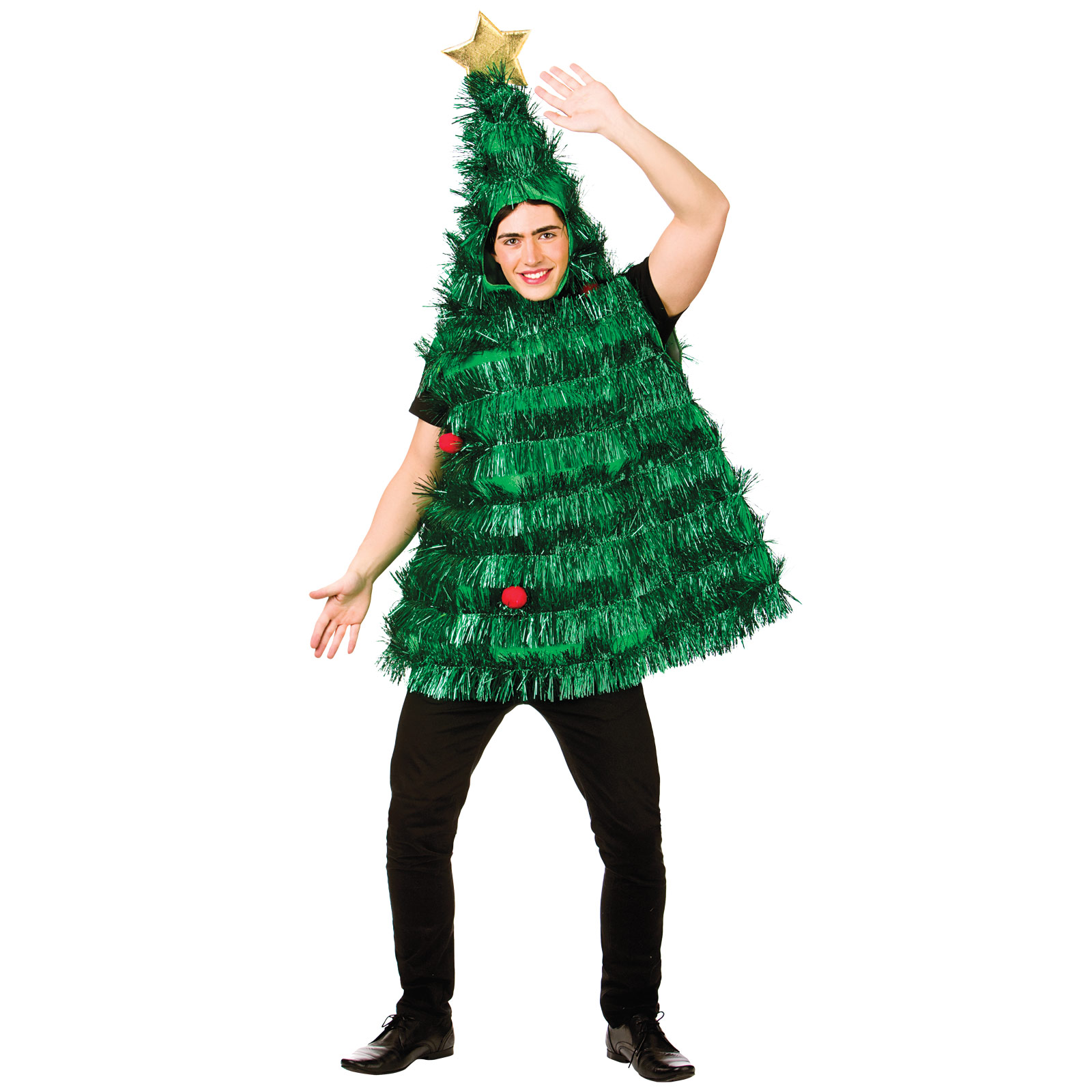 Christmas Tree Dress Costume: Adults Deluxe Tinsel Christmas Tree Fancy Dress Costume
