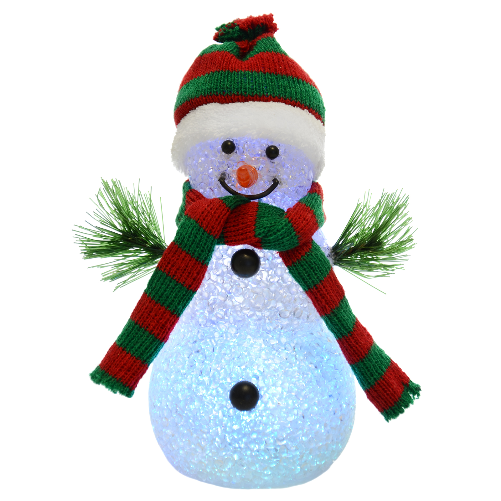 18cm light up colour changing snowman with red green for Snowman decorations