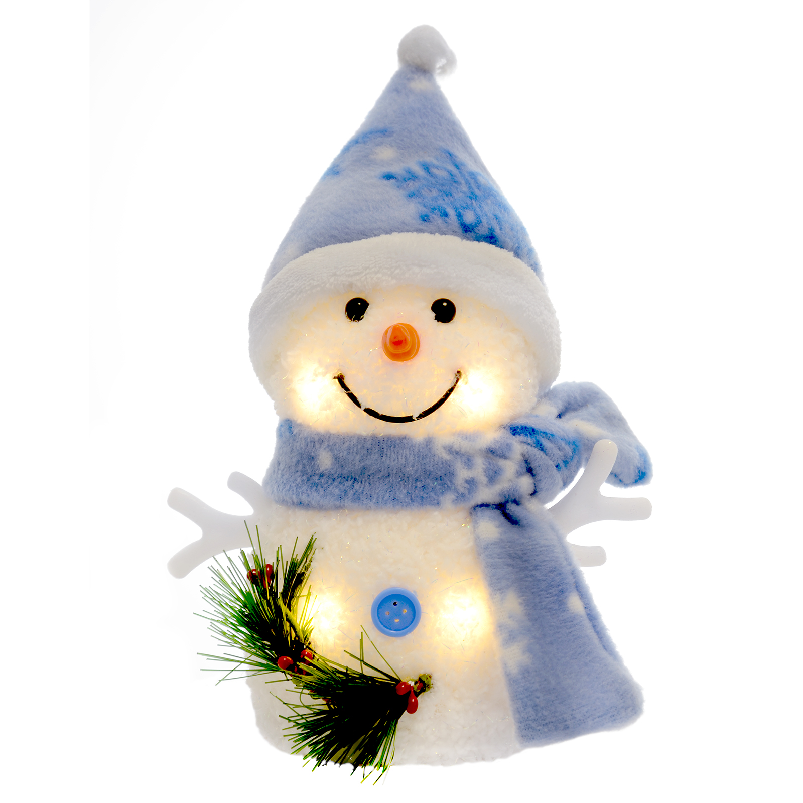15cm light up snowman with blue snowflake hat scarf for Snowman decorations