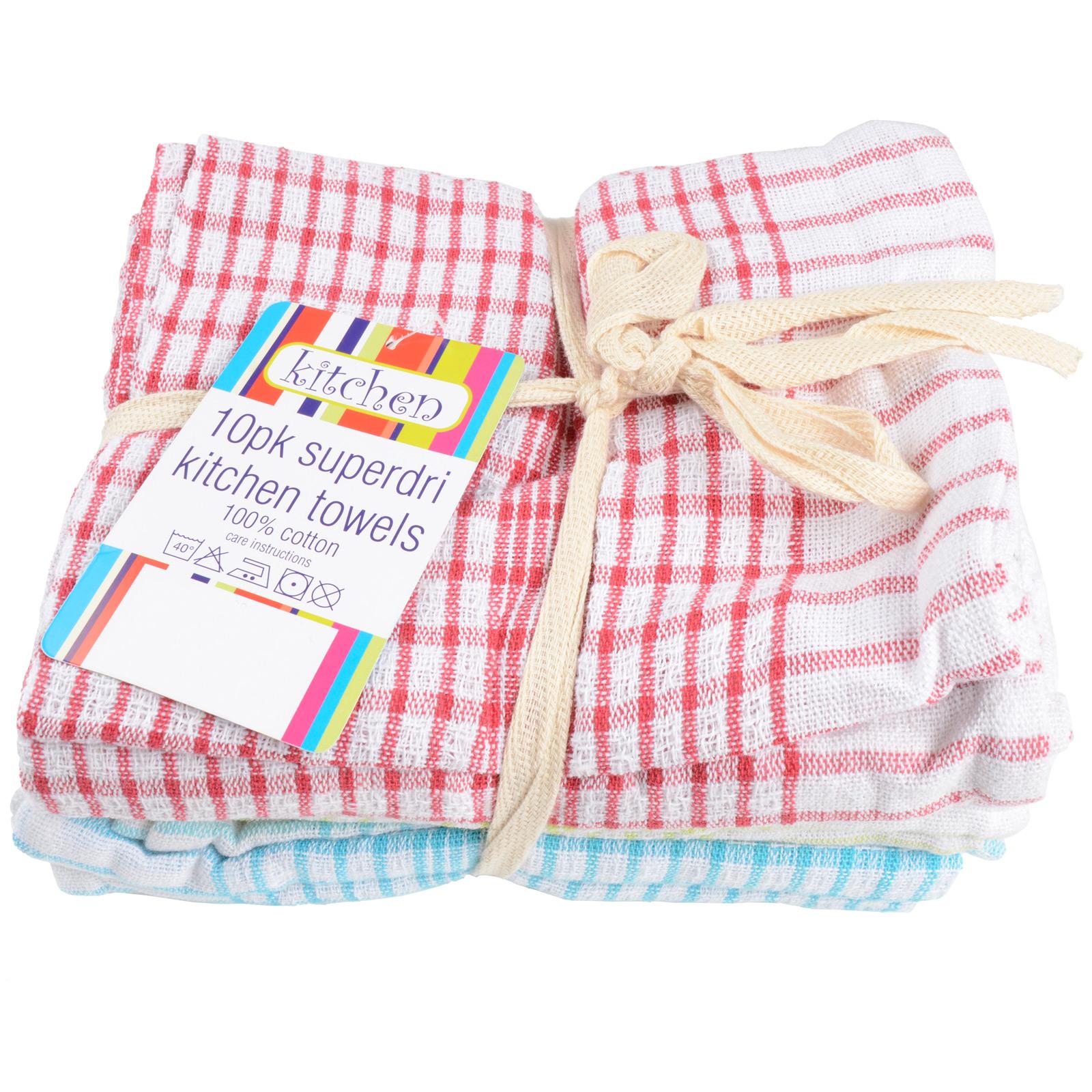 10 Pack Of 100 Cotton Superdri Kitchen Towels Dish Tea Towel Assorted Colours Ebay