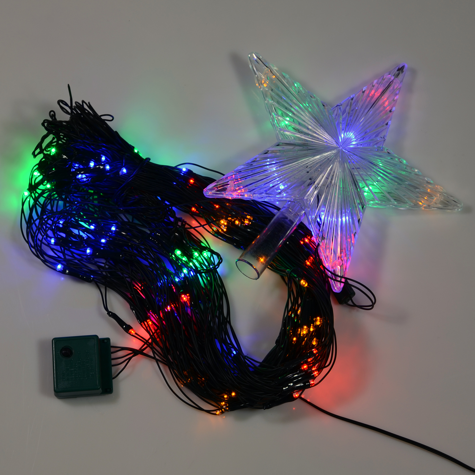 160 multi coloured led chasing net light with star for your christmas tree. Black Bedroom Furniture Sets. Home Design Ideas