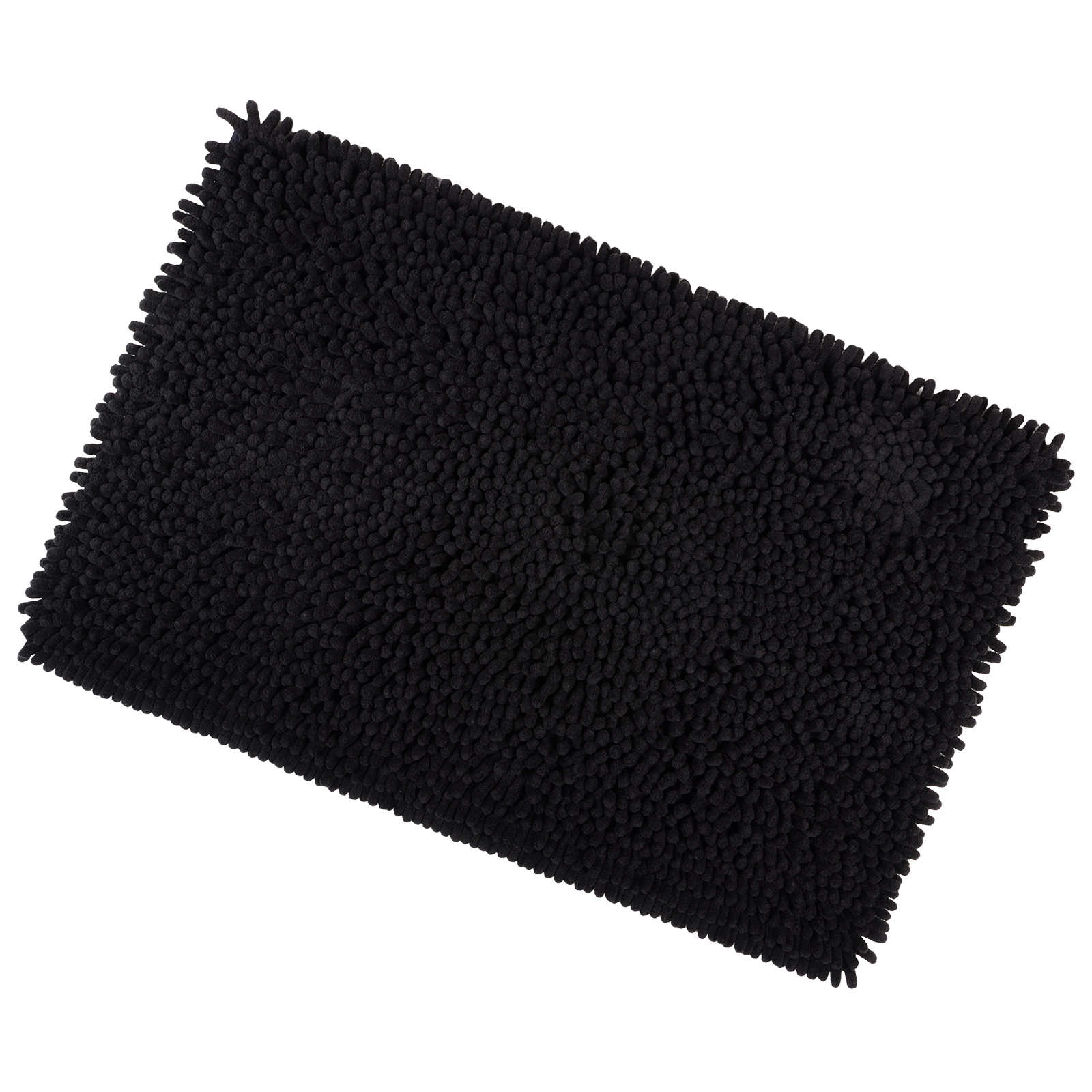 40x60cm Black Shaggy Microfibre Shower Bath Mat Rug Non Slip Backing Bamboobliss
