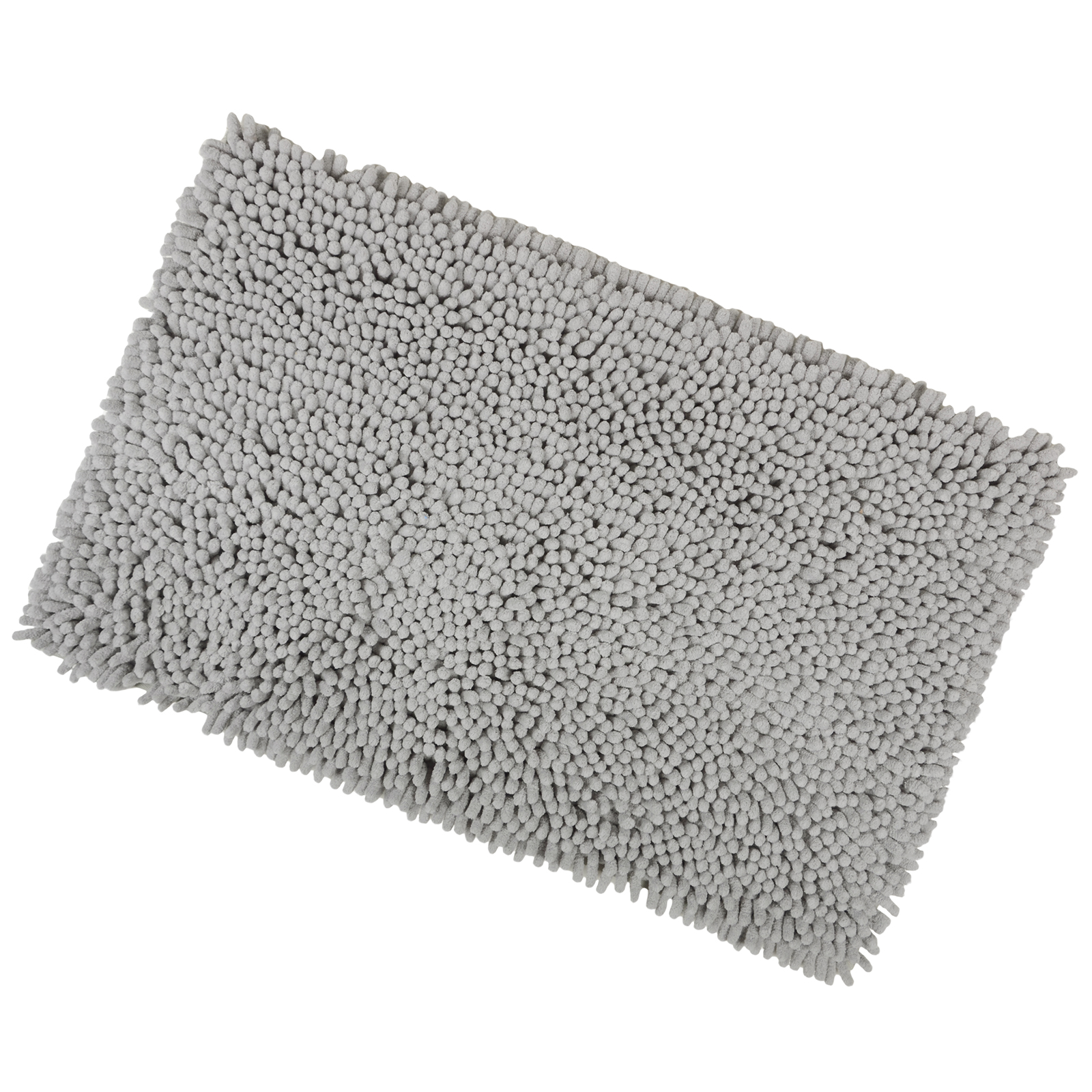 Grey 40x60cm Shaggy Micro Fibre Bath Shower Mat Rug With Non Sliper Backing