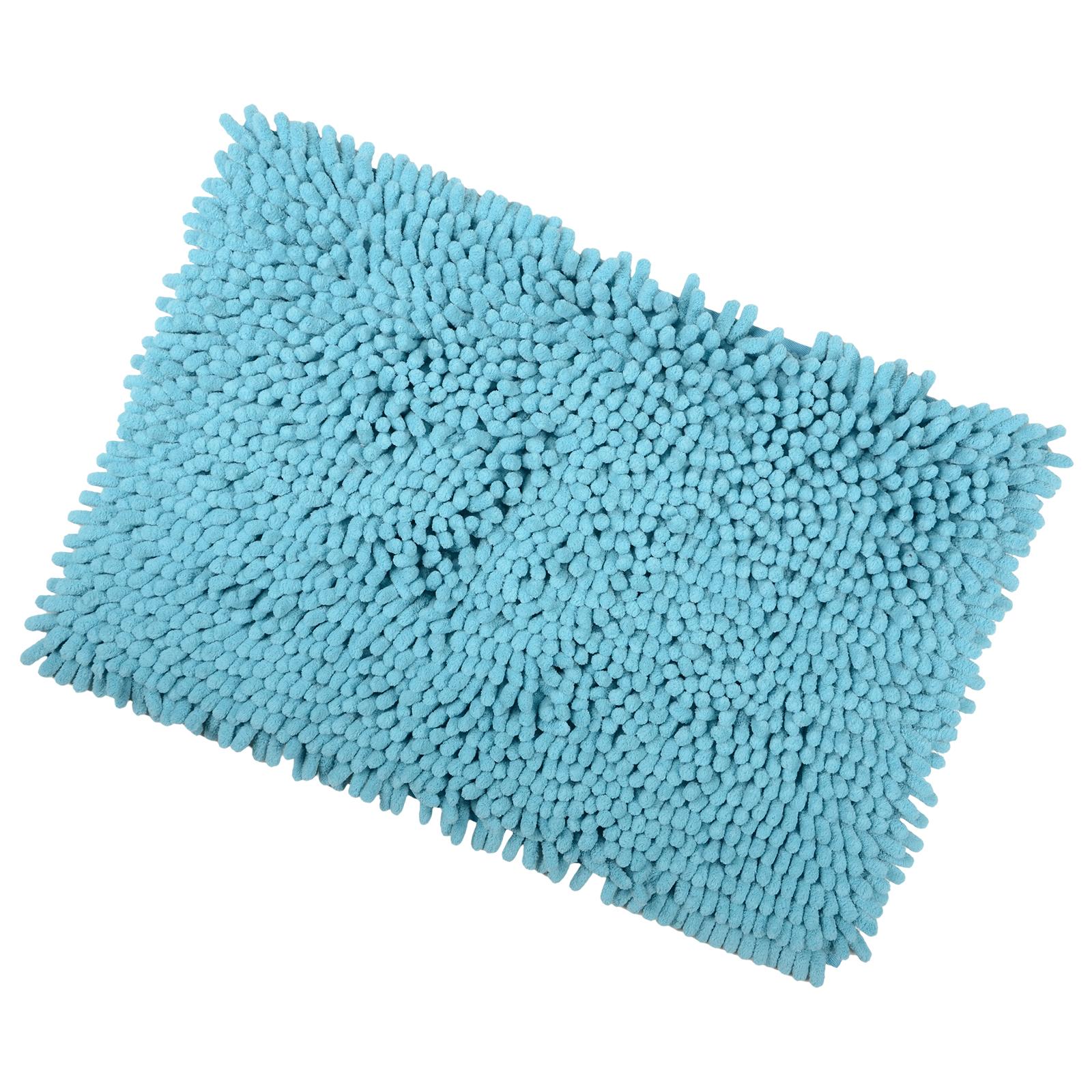 40x60cm Teal Shaggy Microfibre Shower Bath Mat Rug Non