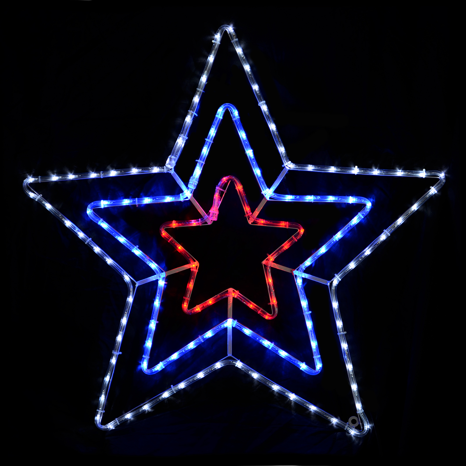 chasing red blue white triple star rope light indoor outdoor