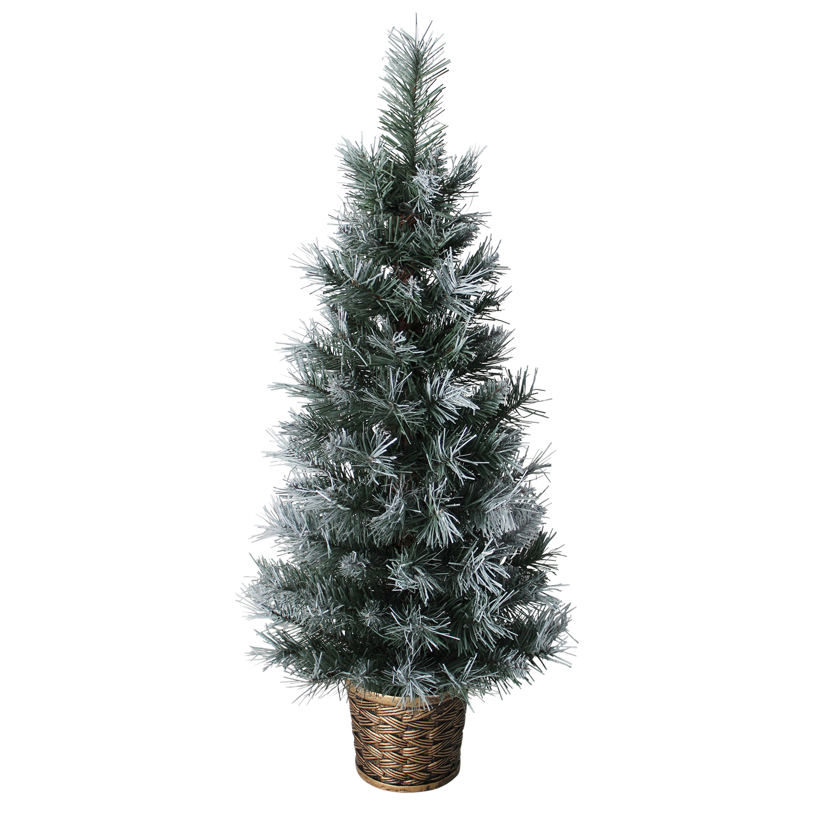 3ft 90cm Artificial Dark Green Frosted Potted Christmas