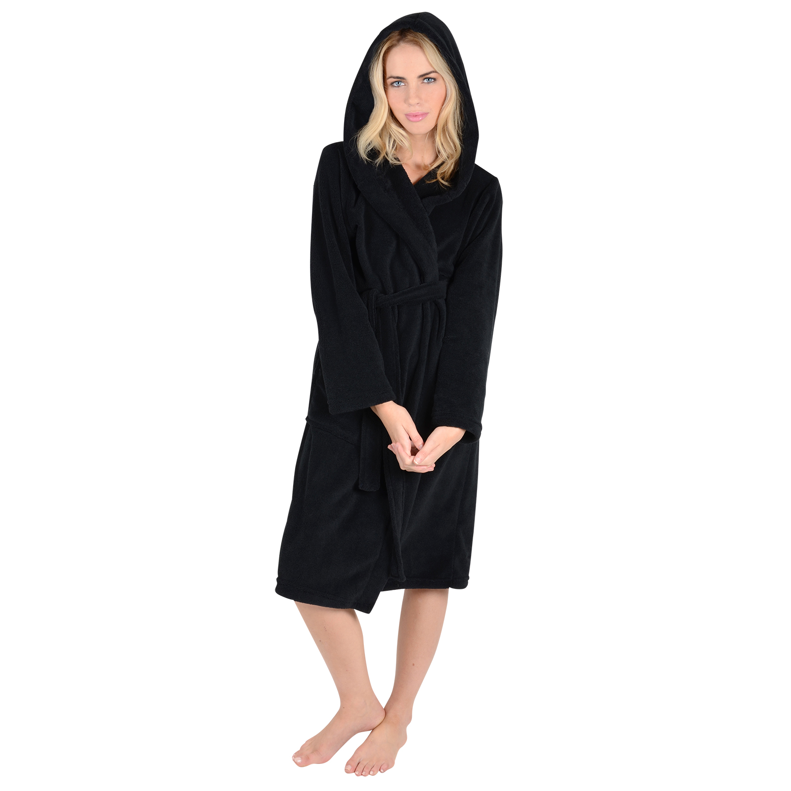Womens Black Super Soft Fleece Hooded Bath Robe Dressing Gown Wrap ...
