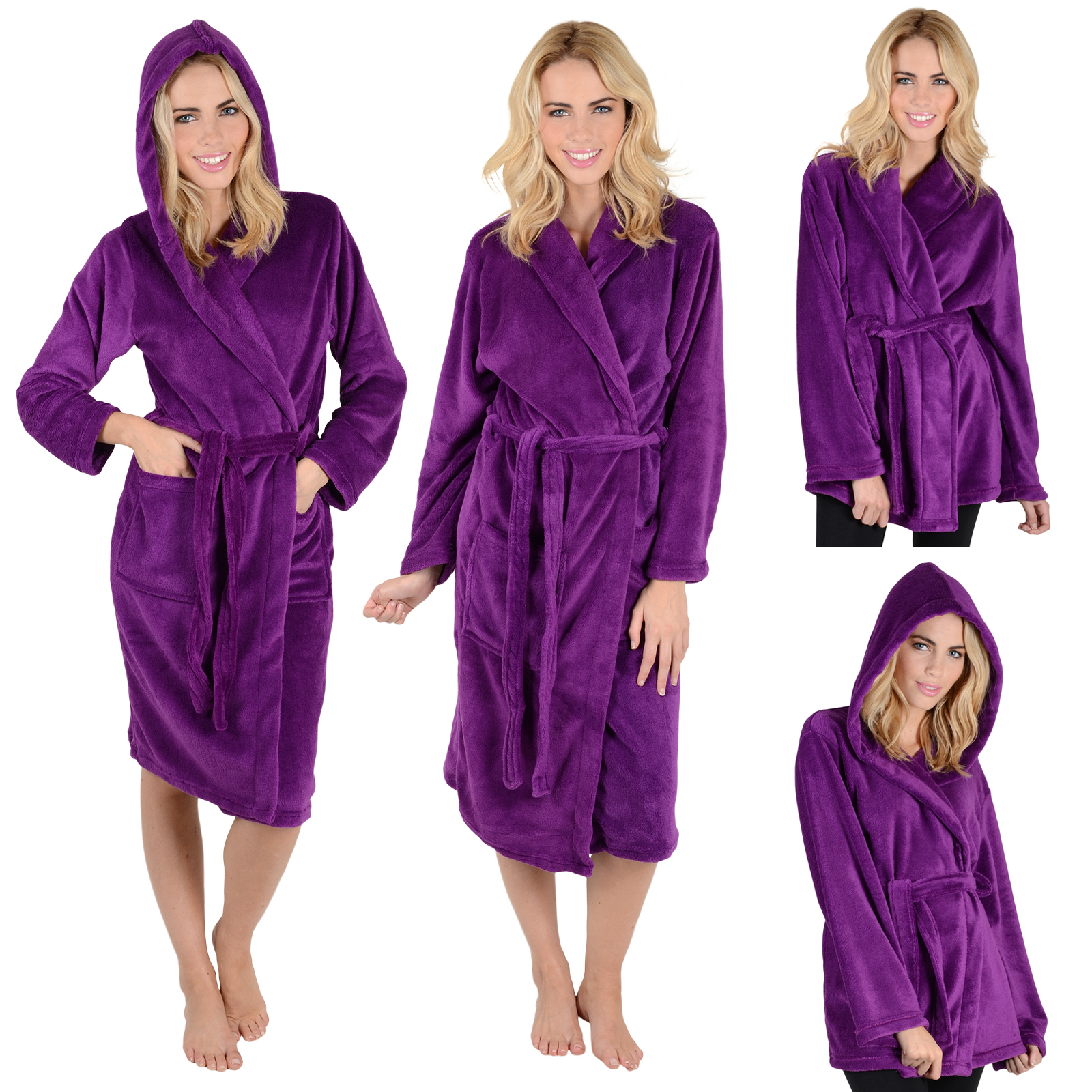 ladies mens fleece bath robe dressing gown housecoat. Black Bedroom Furniture Sets. Home Design Ideas