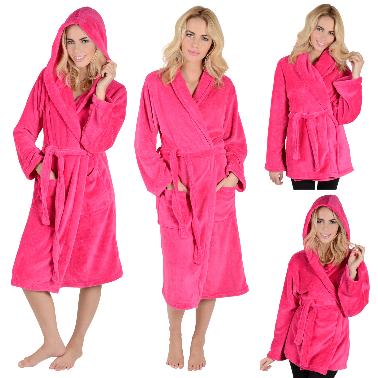 Ladies & Mens Fleece Bath Robe Dressing Gown Housecoat Bathrobe - A ...