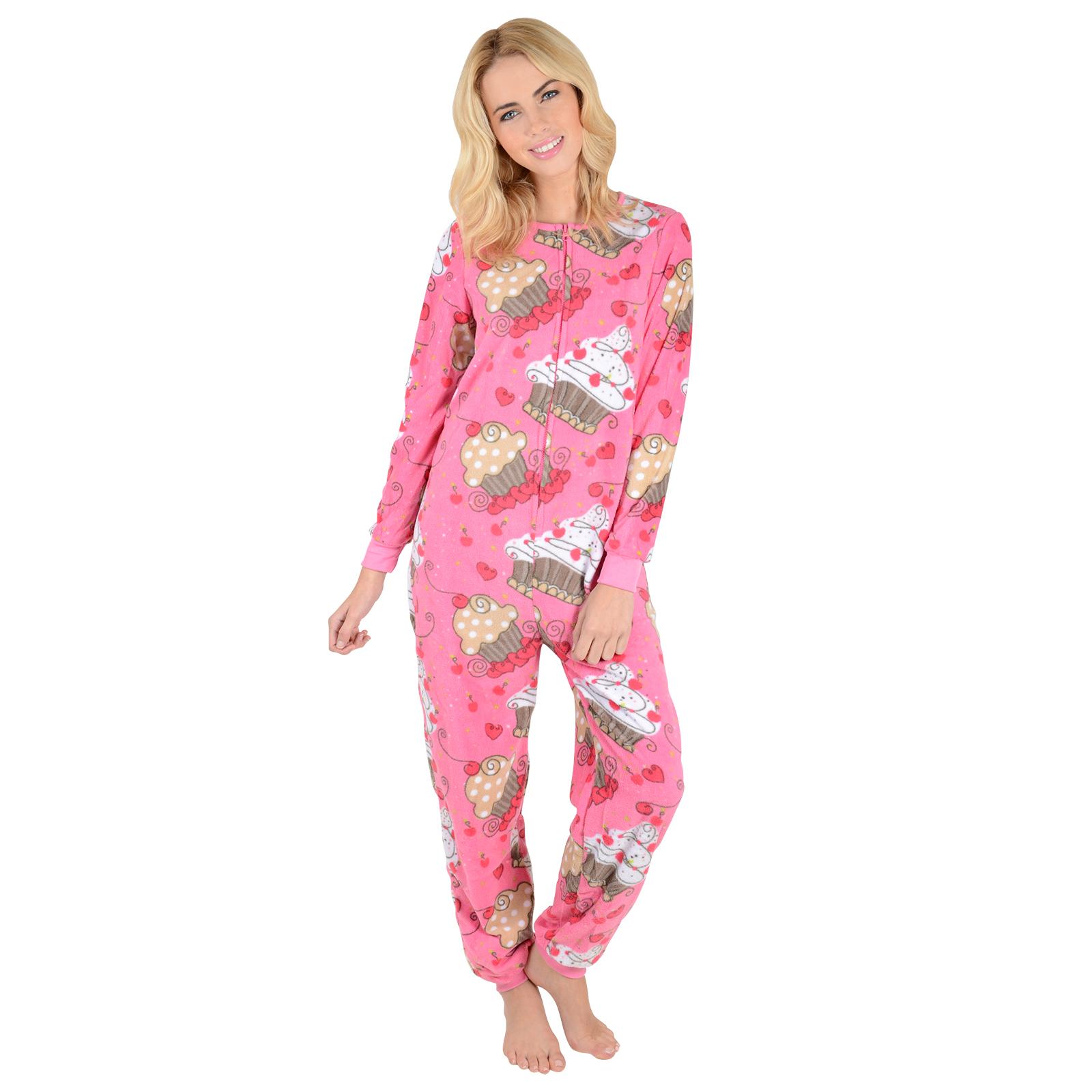 Adults Fleece All In One Pyjamas PJs Ladies / Mens ...