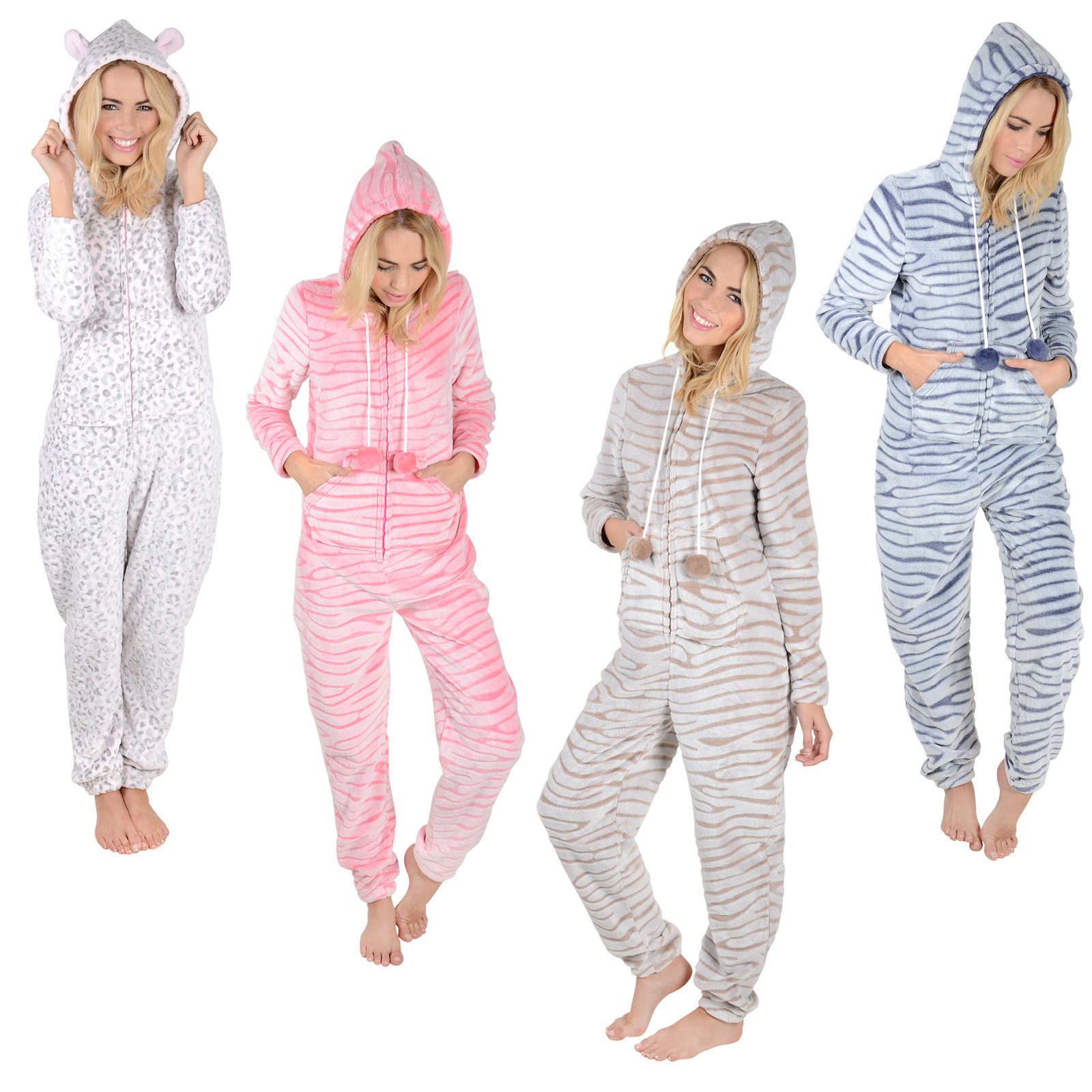 Adults Fleece All In One Pyjamas Onesie PJs Ladies / Mens Nightwear onesiewow5