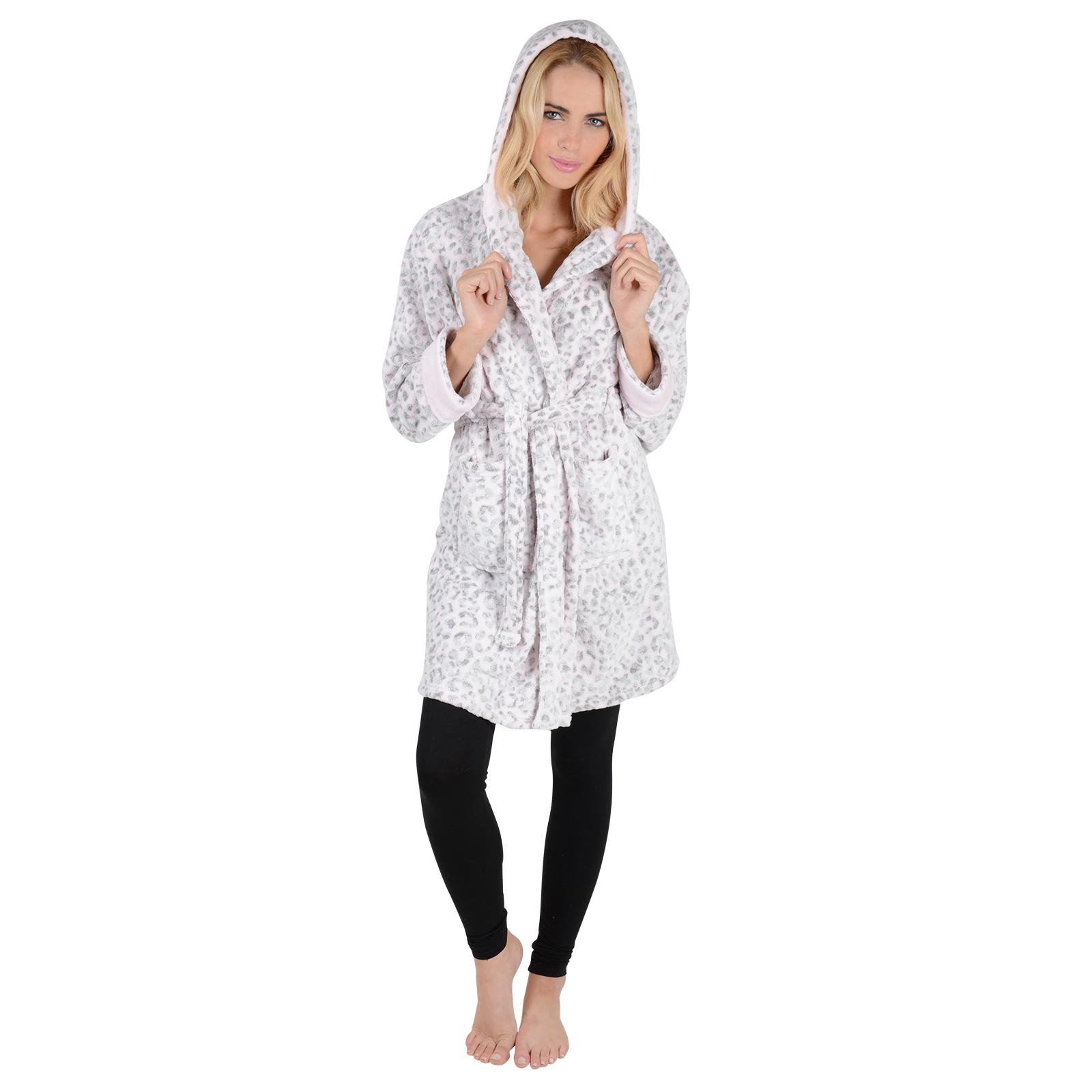 Womens Hooded Bathrobe - Pink & Grey Leopard Print Embossed Fleece ...