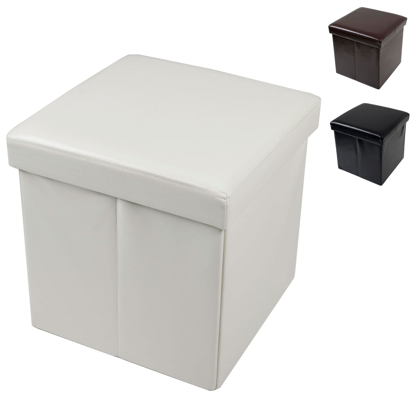 folding storage stool with lid faux leather 37cm cube box pouffe seat ottoman ebay. Black Bedroom Furniture Sets. Home Design Ideas