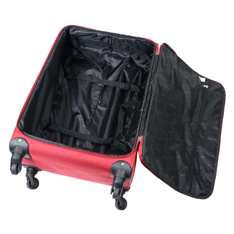 JAM Voyager suitcases feautre a large main compartment with luggage straps.