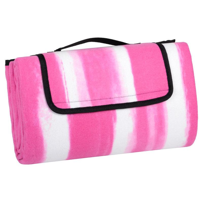 Pink Stripe Folding Waterproof Fleece Picnic Blanket Rug