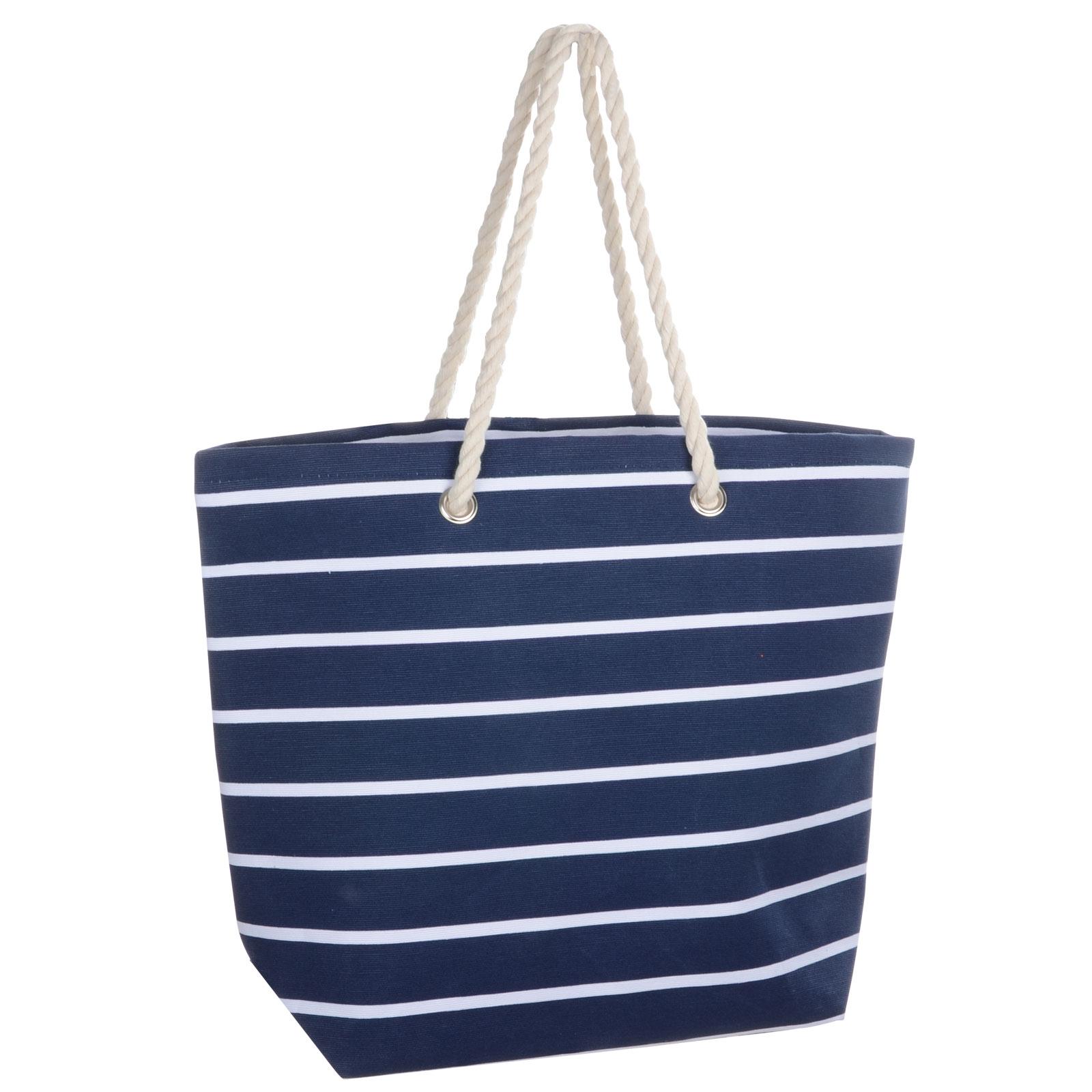 Ladies Large Stripe Canvas Beach Shoulder Bag Tote Shopping Reuseable Handbag